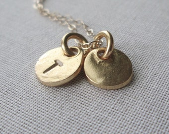 Monogram Gold Necklace/ Personalized Gold Necklace / Two  Discs  / Two  Letter Coins / Rustic Gold Hand Stamped Charms / Monogram