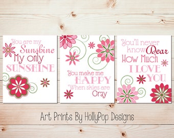 Baby Girl Nursery Decor Pink Green Floral Wall Art You are My Sunshine Girls Room Wall Art Floral Nursery Decor Set of 3 Prints Colorful
