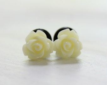 Tiny Flower Plugs Cream Rose Plugs for Size 4 2 0 Gauges 4g 2g 0g Wedding Bridal Wear for Piercing