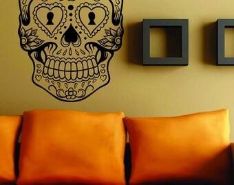 Extra Large Version 6 Sugarskull Wall Vinyl Decal Sugar Skull