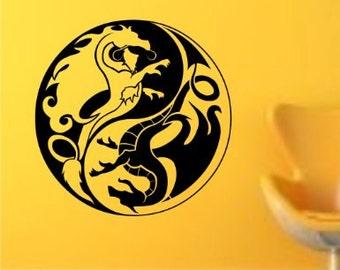 Tribal Yin Yang Dragon Version 2 Decal Sticker Wall Art Graphic