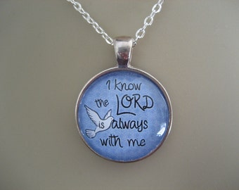Scripture Necklace Bible Verse Psalm 16:8 I Know The Lord Is Always With Me