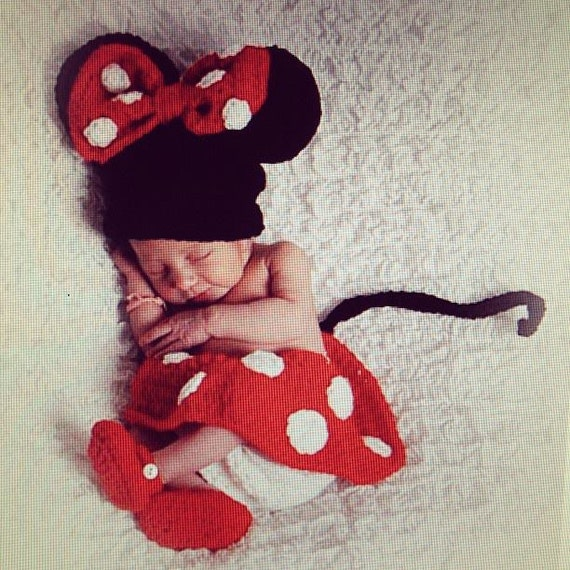 Crochet Minnie Mouse Outfit Newborn Photo By