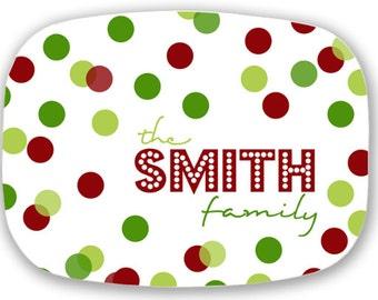 Personalized Melamine Platter -  christmas confetti tray