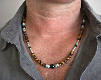 Tiger Eye, Black Onyx, Black Lace Agate, Howlite Turquoise, Silver Accents  Men's Necklace, Men's Jewelry