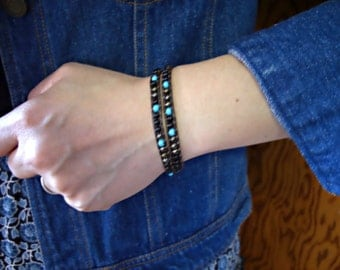 Jet Black, Turquoise, Brown Iris Glass Seed Beaded Brown Leather Double Wrap Bracelet
