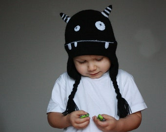 Kids Monster hat - Child knit hat - Infant monster hat  - Baby monster knitted hat