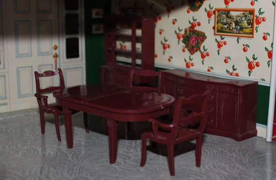 dollhouse furniture dining room marx vintage marxie mansion