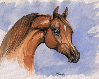 Chestnut arabian horse, equine art, horse portrait, equestrian,  original ink and  watercolor painting
