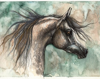 Framed original pen and watercolour painting of a Dark grey arabian horse