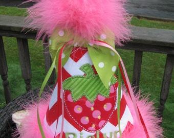 strawberry  birthday hat, smash cake hat, party hat, 1st birthday party hat, 2nd birthday party hat,strawberry shortcake party