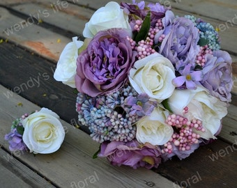 Wedding Bouquet Artificial Bouquet Wedding Flowers Real purple rose, hydrangea