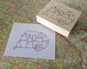 party on wheels - camper - wood mounted rubber stamp by Barb Rogers for Rubbermoon - BR1i