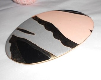 Vintage belt buckle or Scarf holder Champleve pink, pewter and gray enamel 1970s