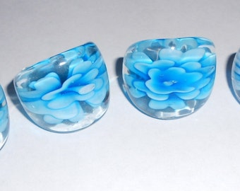 Vintage glass ring Fused glass rings in Sea blue they are 90s dead stock