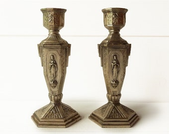Pair of Antique French Silvered Spelter Candle Holders - Our Lady ofLourdes
