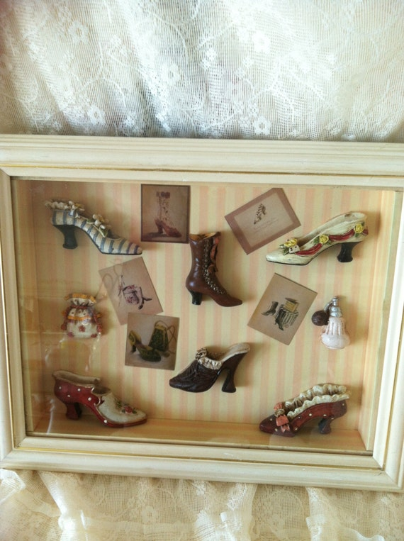 Victorian Shadow Box With Victorian Ladies Shoes A Purse And A Purfume Bottle