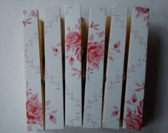 Tilda Wintergarden Pegs Clothespins Magnets White Rose