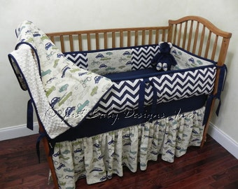 Custom Baby Bedding Set Shelton - Boy Baby Bedding, Vintage Cars Crib Bedding, Navy Chevron Bedding