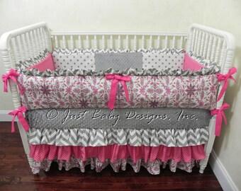 Sale! Custom Baby Girl Bedding Set Gabby  - Girl Crib Bedding, Pink and Gray Baby Bedding