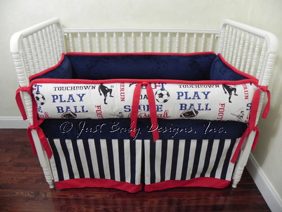 Custom Crib Bedding Casey Sports Navy And Red By