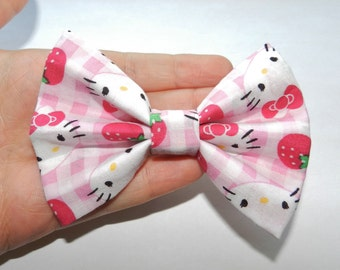 Small Hello Kitty Fabric Hair Bow Clip Barrette