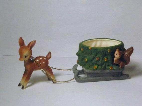 Vintage Norcrest Christmas Tree Sleigh Squirrel Bambi Reindeer