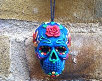 "Mexican Day Of The Dead Sugar Skull Dangler ""Carneo Azul"""