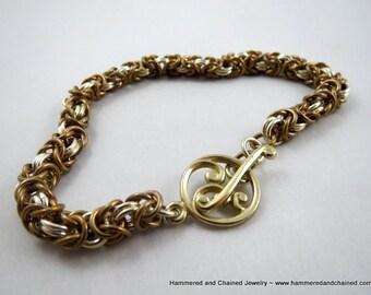 Sterling Silver and Brass Byzantine Bracelet