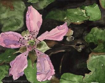 Original Watercolor - Wild Irish Rose (Pink) - 12x16 Watercolor painting - Rose Painting - Pink Flower