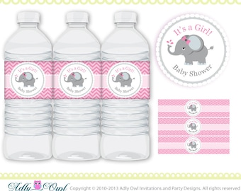 Pink Grey Girl Elephant Baby Shower Water Bottle Wrappers, Labels, chevron- It's a Girl DIY Pink,grey, white-ONLY digital fil -ao46
