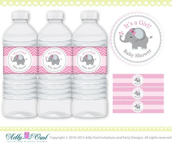 Gianna S Pink And Gray Elephant Nursery Reveal: Pink Grey Girl Elephant Baby Shower Water Bottle Wrappers