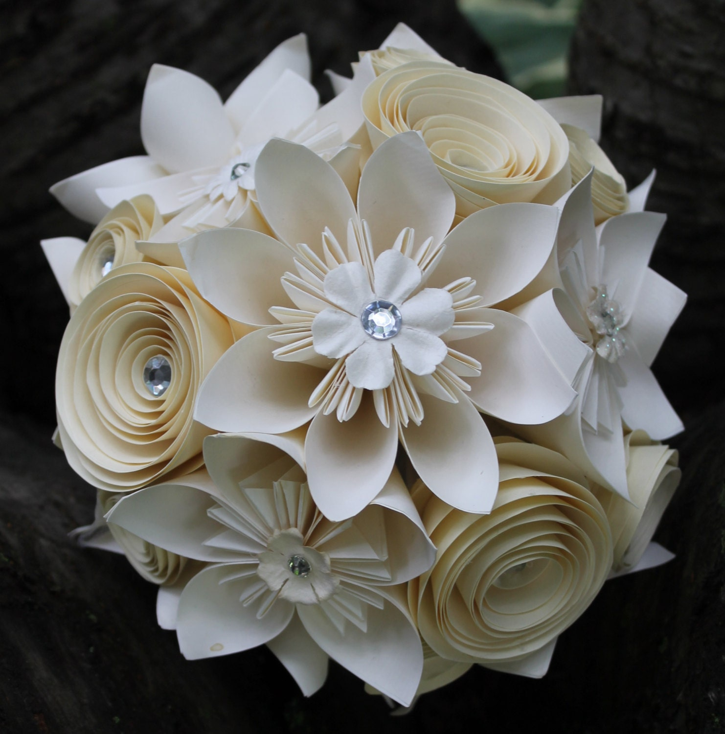 Origami and Spiral Bouquet Paper Bridal Bouquet Paper