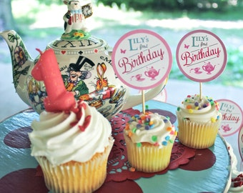 Alice In Wonderland Favor Tag or Cupcake Topper - Customized