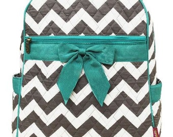 Personalized Aqua and Black Chevron Backpack Bookbag  Back to School  FREE PersonalizationDance Bag Swim Bag Aqua Zig Zag Christmas Birthday