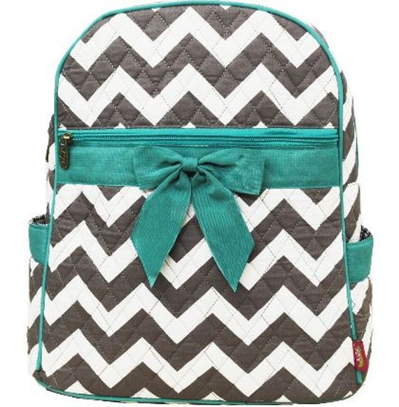 Personalized Aqua And Black Chevron Backpack Bookbag Back To