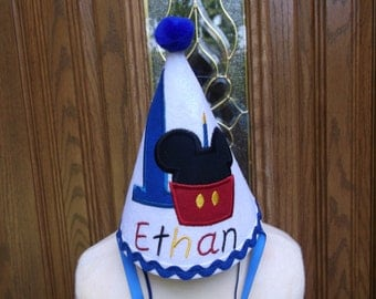 Boys First Birthday Party Hat - Mickey Mouse Cupcake Hat   - Free Personalization