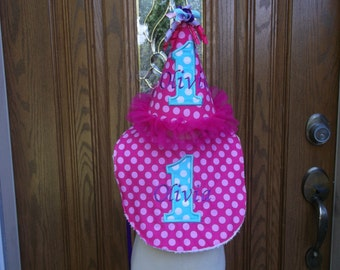 Girls 1st Birthday Matching Party Hat and Bib - Free Personalization -