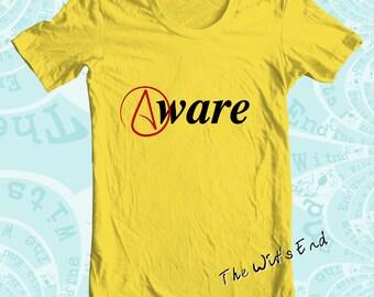 Atheist symbol 'Aware' tee shirt hand screened