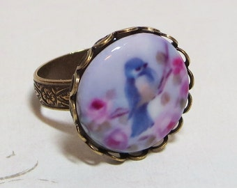 Blue Bird Ring Bluebird Cameo Shabby Chic Pink Roses