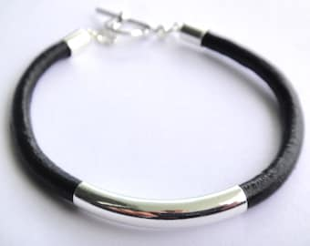 Leather Tube Bracelet, Silver Tube Bracelet, 4mm Leather
