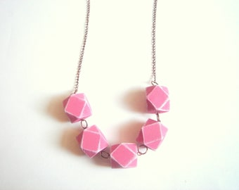 Geometric Necklace ,  Pink  Wood Geometric Necklace,Geometric Jewelry