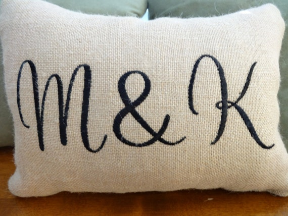 engagement gift idea - monogrammed burlap anniversary/wedding pillow