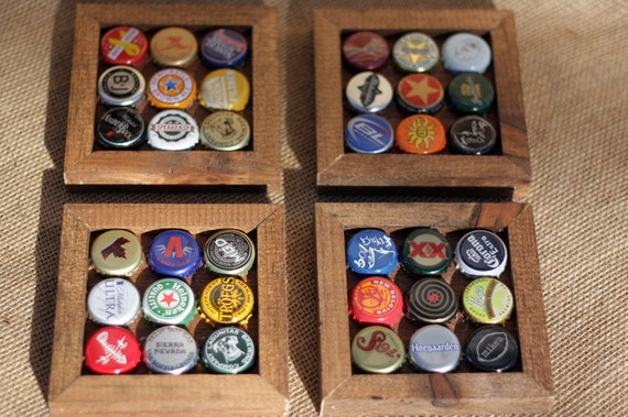 Recycled Assorted Bottle Cap Coasters Set Of 4