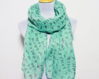 Mint Green Bird Scarf, Tree Scarf, Fashion Scarf, Scarf For Women, Scarf Gift, Christmas Gift, For Her, Womens Scarf, Girls Scarf