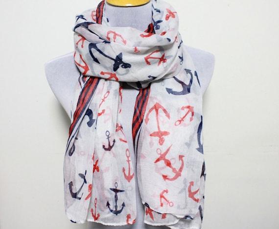 items similar to white anchor scarf nautical scarf