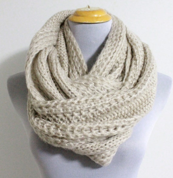 Knitting Pattern For Chunky Infinity Scarf : Oatmeal Chunky Knit Infinity Scarf Cozy Winter by Dailyaccessoriez