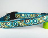"Teal & Green Swirls Spring Summer Dog Collar, 1"" Wide"