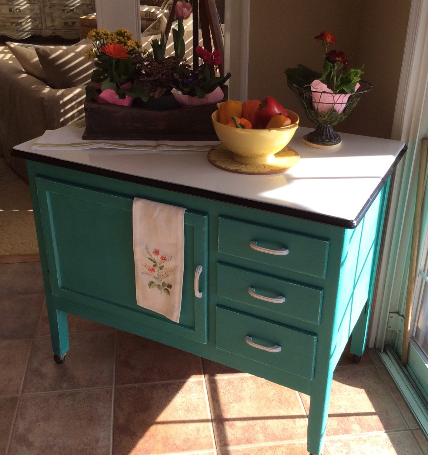 Sold hoosier cabinet by relovedbylori on etsy for Kitchen cabinets 08054