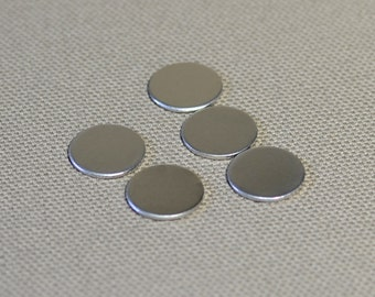 Sterling silver 1/2 inch 18 gauge discs qty 5